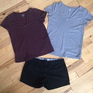 J Crew tees and a pair of fav shorts